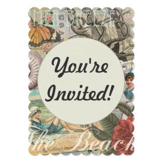 Summer beach vintage retro victorian 13 cm x 18 cm invitation card