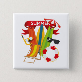 Summer Beach Watersports 15 Cm Square Badge