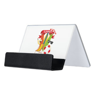 Summer Beach Watersports Desk Business Card Holder