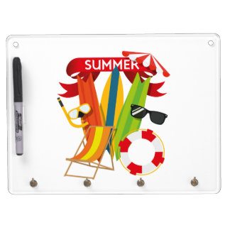 Summer Beach Watersports Dry Erase Board With Key Ring Holder