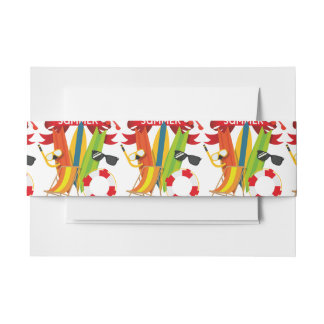 Summer Beach Watersports Invitation Belly Band