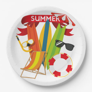 Summer Beach Watersports Paper Plate
