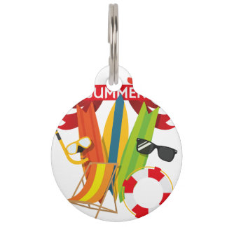 Summer Beach Watersports Pet Name Tag