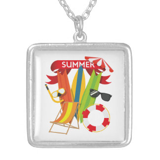 Summer Beach Watersports Silver Plated Necklace