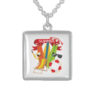 Summer Beach Watersports Sterling Silver Necklace
