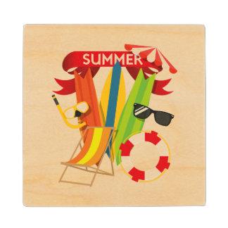 Summer Beach Watersports Wood Coaster