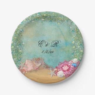 Summer, Beach Wedding, Seashells, Paper Plates