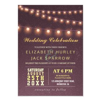 Summer Beach Wedding Starry Night and String Light 13 Cm X 18 Cm Invitation Card