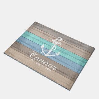 Summer Beach Wood Nautical Stripe Doormat | Zazzle