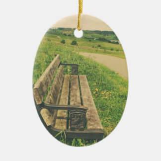 Summer Bench Ceramic Oval Decoration