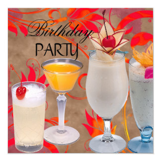 Summer Birthday Party Cocktails Tropical Card