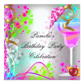 Summer Birthday Party Colorful Cocktail 13 Cm X 13 Cm Square Invitation Card