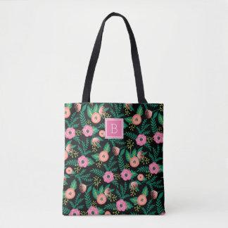Summer Blooms | Pink Floral Monogram Tote Bag