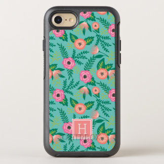Summer Blooms Tropical Floral Monogram OtterBox Symmetry iPhone 7 Case