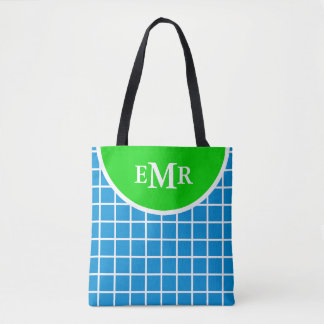 Summer Blue and Green Lattice Stripe Monogram Tote Bag