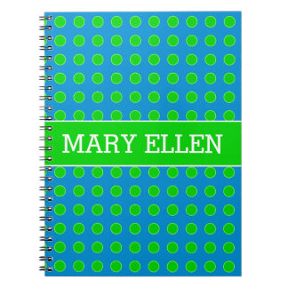 Summer Blue and Green Polka Dot Personalized Notebook