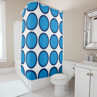 Summer Blue and Navy Polka Dot Shower Curtain