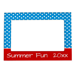 Summer Blue and White Polka Dots With Red Magnetic Picture Frame