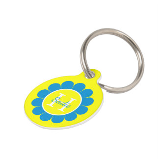 Summer Blue and Yellow Daisy Personalized Pet Name Tags