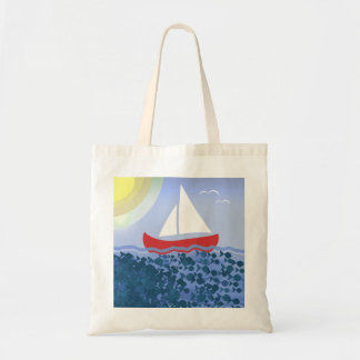 Summer Blue Deep Sea Sunshine Bright Sailing Boat Tote Bag