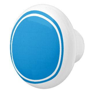 Summer Blue Dot on White Ceramic Knob