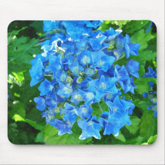 summer blue hydrangea flowers and its green leaves mouse pads