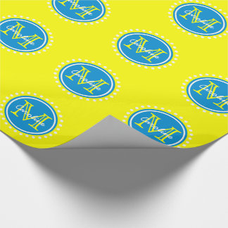 Summer Blue Polka Dot Monogram on Sunshine Yellow Wrapping Paper