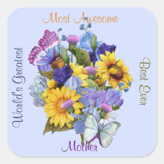 Summer Bouquet - Mom Square Sticker