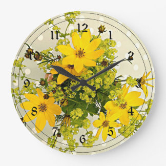 Summer Bouquet, Vibrant Yellow Large Clock