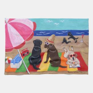Summer Breeze Labradors Painting Tea Towel