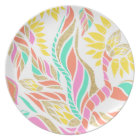 Summer bright modern coral gold turquoise floral plate