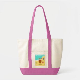 SUMMER BUG BAG.  CUTE INSECT BUG AT THE BEACH TOTE BAG