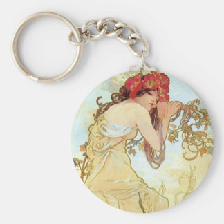 Summer by Mucha Basic Round Button Key Ring