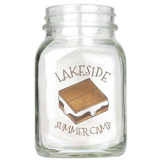 Summer Camp Campfire Toasted Marshmallow S'mores Mason Jar