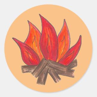 Summer Camp Fire Campfire Blaze Flames Camping Classic Round Sticker
