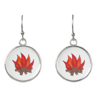 Summer Camp Flames Orange Campfire Camp Fire Logs Earrings