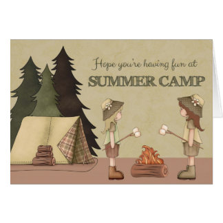 Summer Camp Thinking of You, girl campers Card
