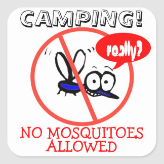 summer camping no mosquito funny cartoon design square sticker