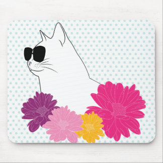 """""""Summer cat"""" line drawing with flowers, polka dots Mouse Pad"""