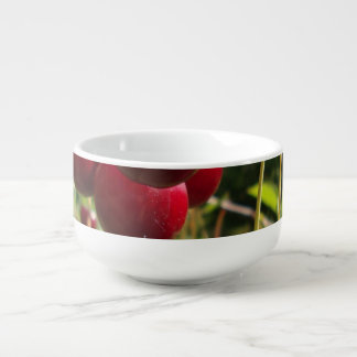 Summer Cherries Soup Bowl With Handle