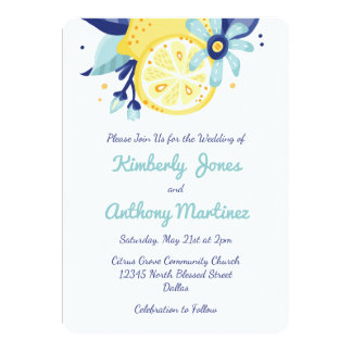 Summer Citrus and Floral Wedding 13 Cm X 18 Cm Invitation Card