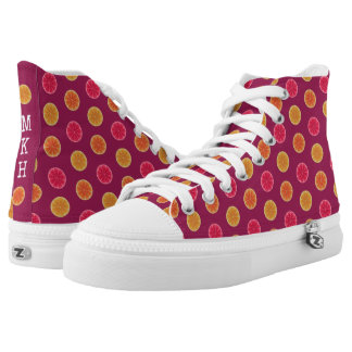 Summer Citrus Fruit Slice Tropical Monogrammed High Tops