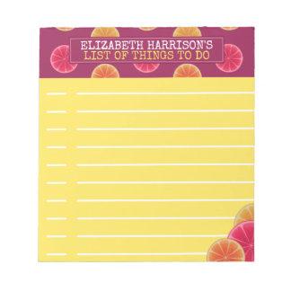 Summer Citrus Fruit Tropical To Do List Custom Notepad