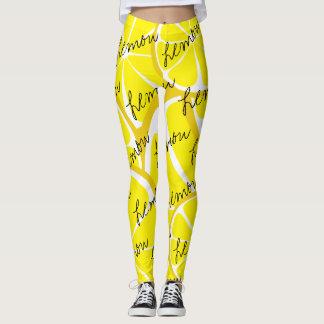 Summer Citrus Lemon Leggings - Bold Print Plus