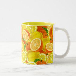 Summer Citrus Lemons & Oranges WhimsicalArtwork™ Two-Tone Coffee Mug