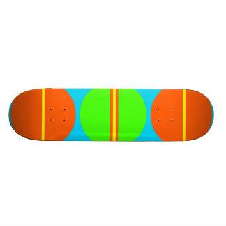 Summer Citrus Lime Green Orange Yellow Teal Circle Skate Deck