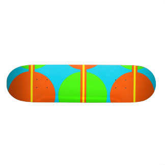 Summer Citrus Lime Green Orange Yellow Teal Circle Skate Board Decks