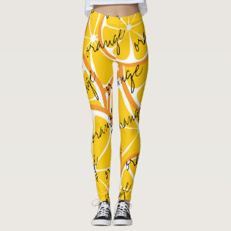 Summer Citrus Ornge Leggings - Bold Print Plus