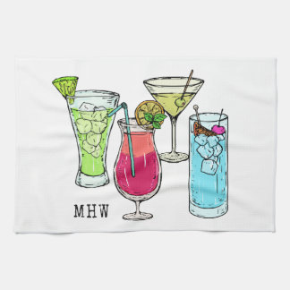 Summer Cocktails custom monogram kitchen towel