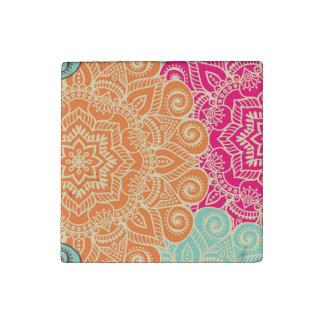 Summer Color Mandala Stone Magnet Set of Four